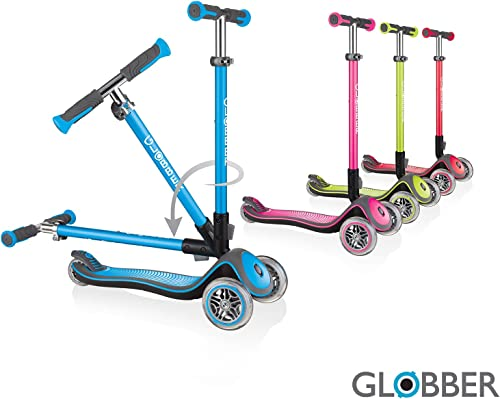 Globber Elite Deluxe 3 Wheel Scooter for Kids Solid Deck with Anodized TBAR