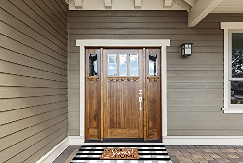 Buffalo Plaid Rug – Black and White Check Door Mat Outdoor – Farmhouse Rugs for Kitchen Bathroom Front Porch Decor – Layered Welcome Doormats – Checkered Flannel Cotton Entry Way Layering Mats 36 x59