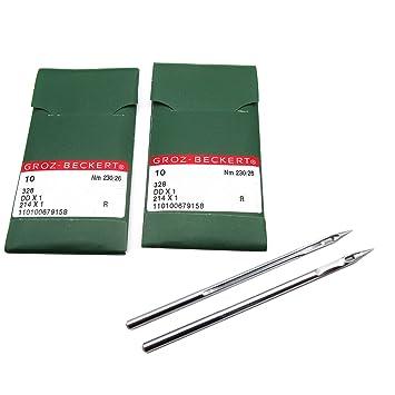 KUNPENG -20piezas Agujas para máquina de coser Groz-Beckert 214X1 DDX1 ajuste para Singer 45K Consew SK-2R Adler 104 (26/230): Amazon.es: Hogar
