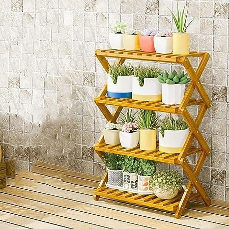 YAHAO Escalera para Flores De Bambú Estantería Decorativa para Macetas Soporte para Plantas Exterior Interior Jardín,4layers-50cm: Amazon.es: Hogar