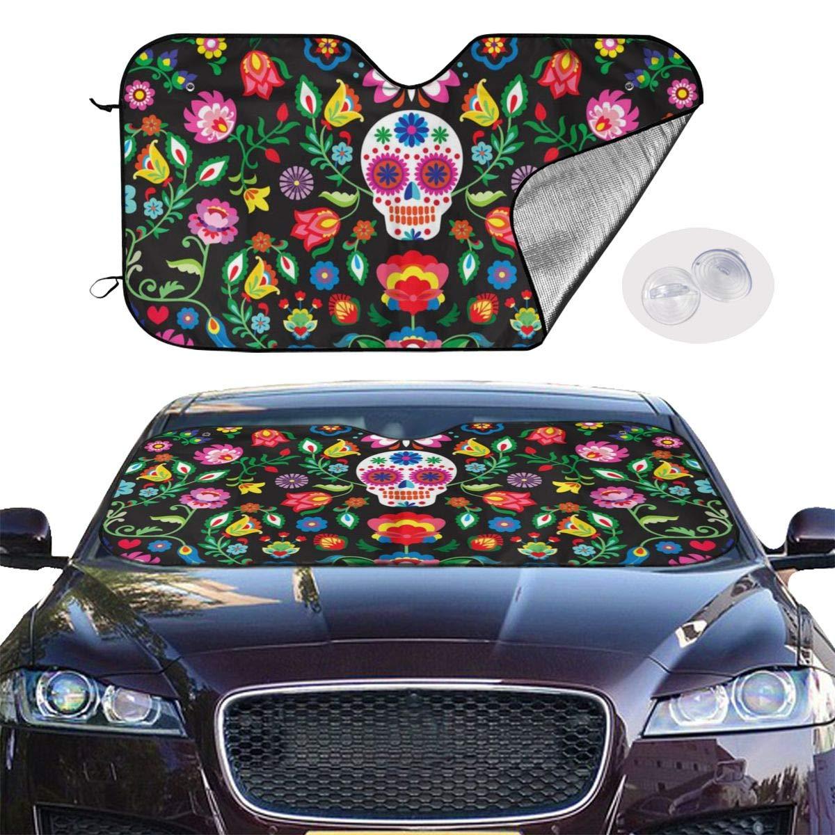 Yuk1no Foldable Car Windshield Sunshade,Shade UV Protection Keep Vehicle Cool,Fits Windshields of Most Sizes