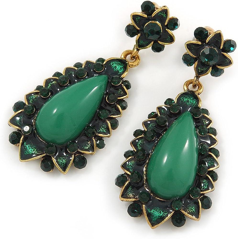 Apple verde resina piedra, Verde Oscuro Crystal Pendientes de lágrima en oro tono–45mm L