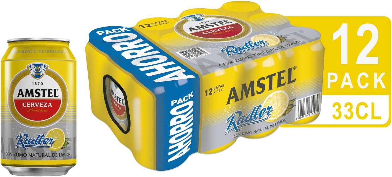 Amstel Radler Limón Cerveza - Pack de 12 Latas x 330 ml - Total ...