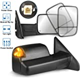MOSTPLUS Power Heated Towing Mirrors Compatible for 02-08 Dodge Ram 1500 2500 3500 W/Turn Signal Light (Set of 2)(THIS…