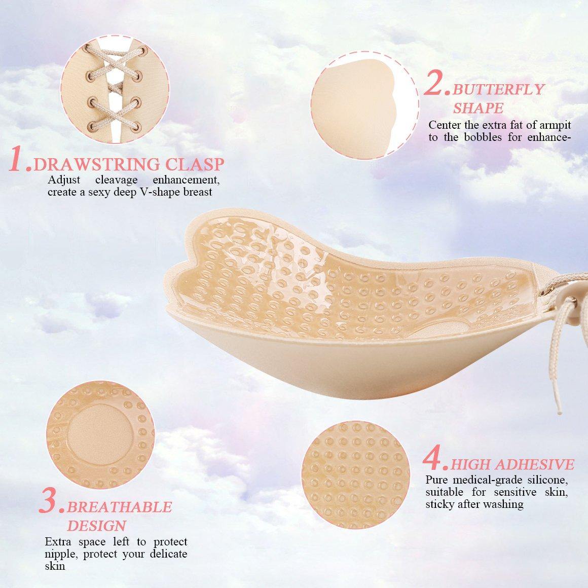 8ebaba790e Adhesive Invisible Bra Sticky Strapless Silicone Bra for Women