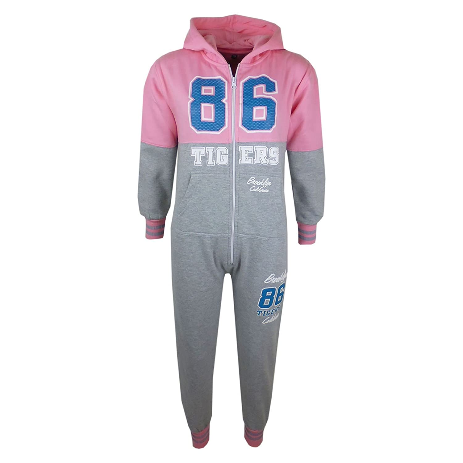 A2Z 4 Kids® Kids Girls Boys Onesie Tigers 86 Brooklyn California Hooded All in One Jumpsuit PJ's Age 7-13 Years