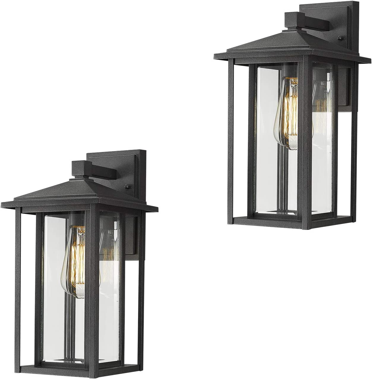 Zeyu Porch Wall Lantern 2 Pack Outdoor Light Fixtures Wall Mount In Black Finish With Clear Glass 1951 2pk Bk Amazon Com