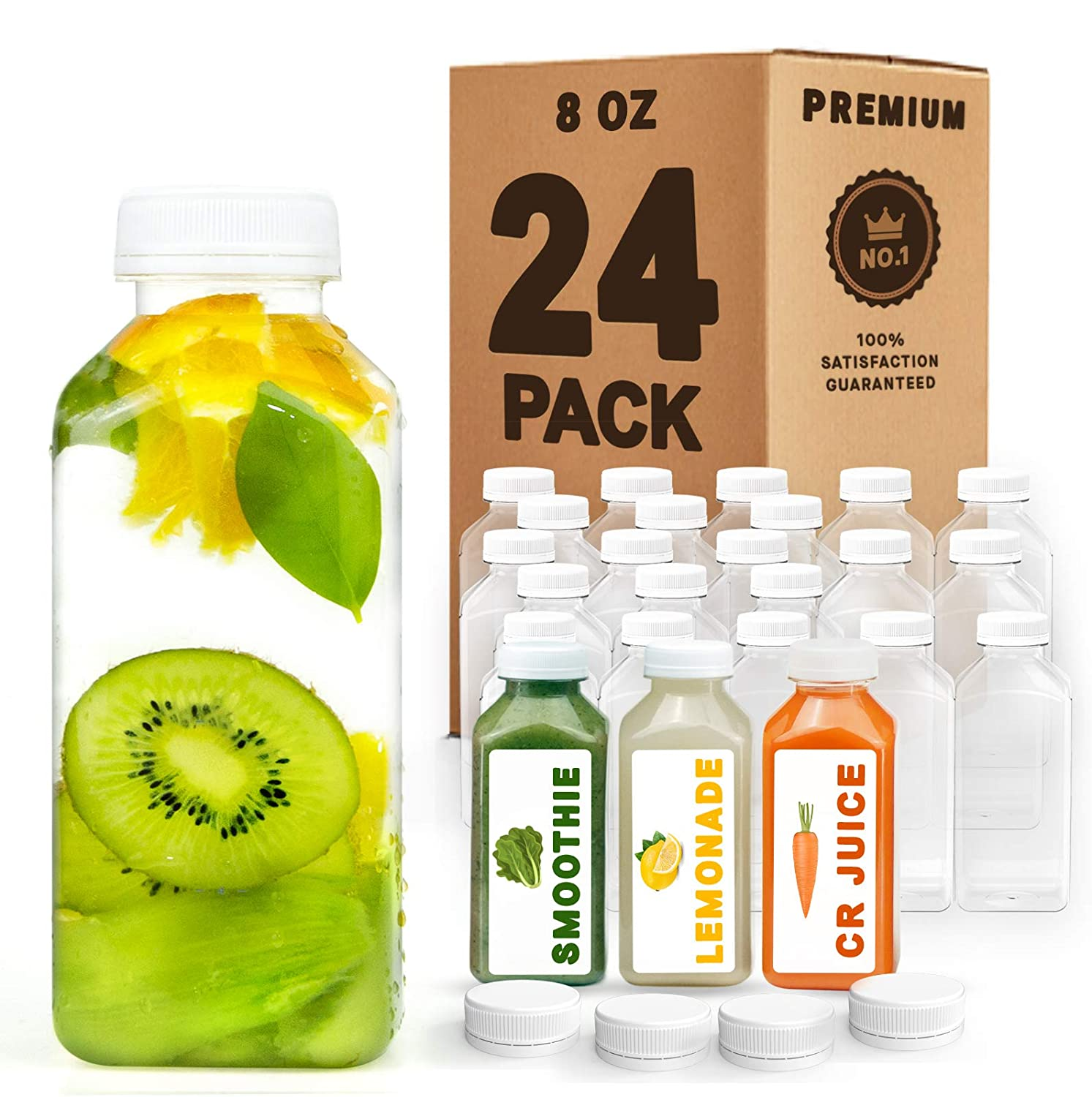Norcalway 8 oz Plastic Juice Bottles with Caps Lids - Smoothie Bottles, Drink Juice Containers with Lids, Reusable Juice Bottles for Juicing, 24 Pack