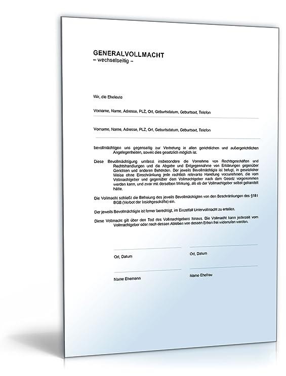 generalvollmacht eheleute word dokument download amazonde software - Generalvollmacht Muster Kostenlos