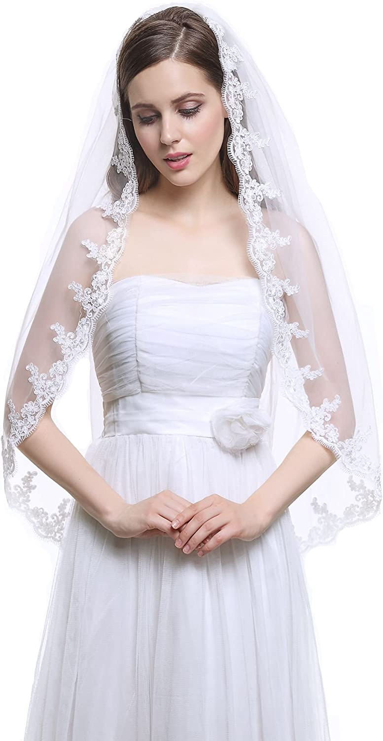 Stock Ivory White Wedding Veil Lace Applique Edge Bridal Elbow Veil 1T With Comb