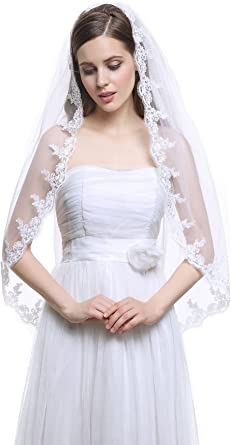 "BEAUTIFUL 1T 1 Layer Applique Lace Rhinestones White 37/"" Fingertip Wedding Veil"