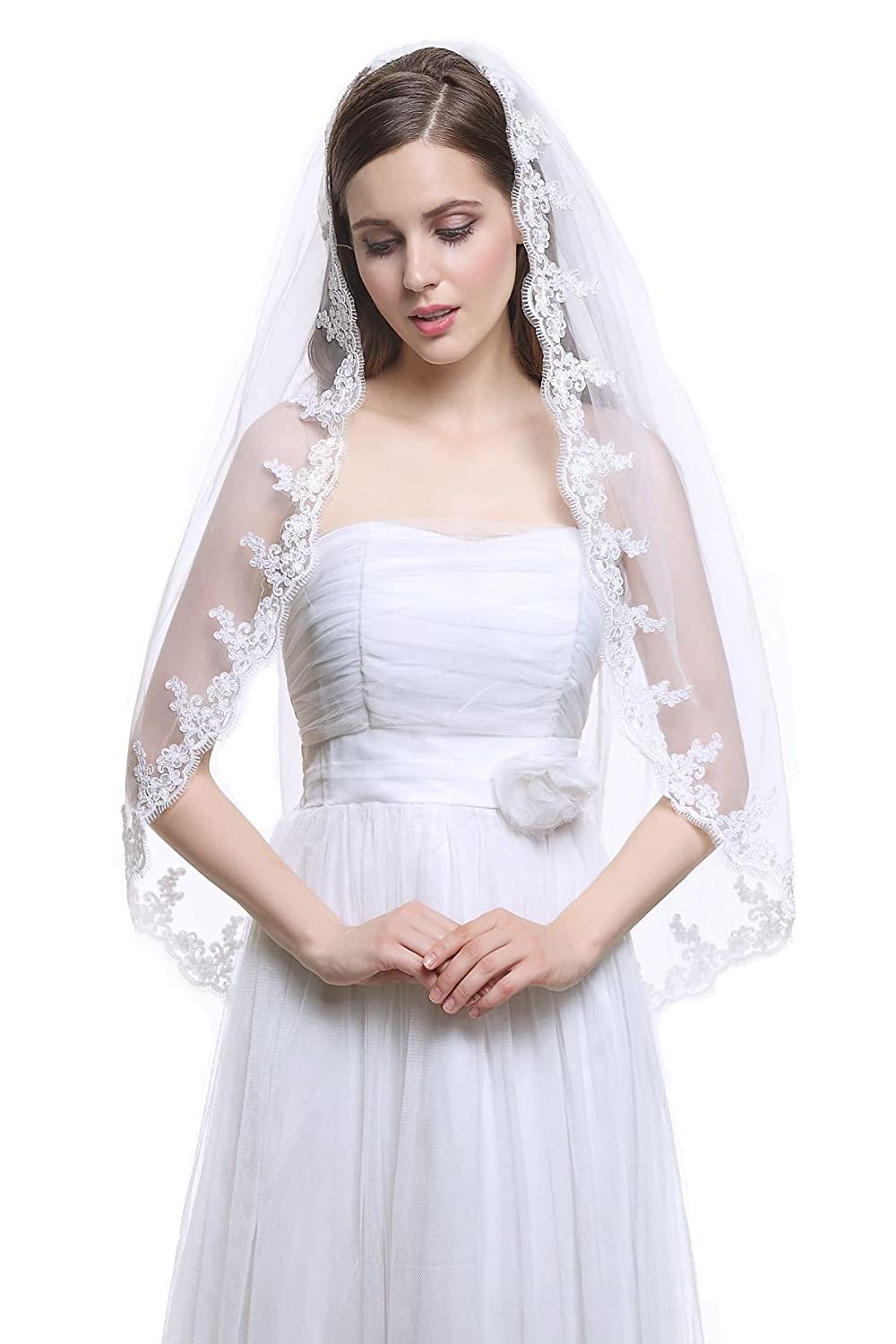 1 Tier Ivory and White Fingertip Tulle Bridal Wedding Veil Applique Edge with Comb-V33