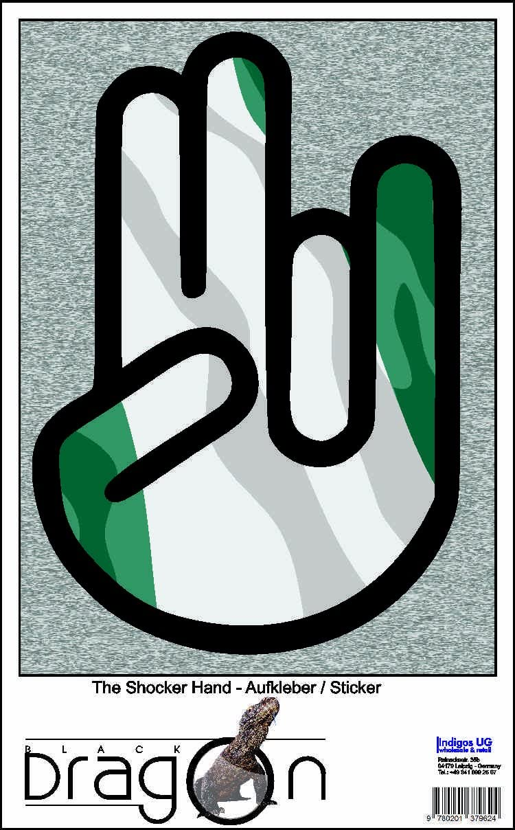 The Shocker Hand Decal Sticker Laptop skin 297x205 mm black Outline with Flag Niger-Nigeria-Nigeria
