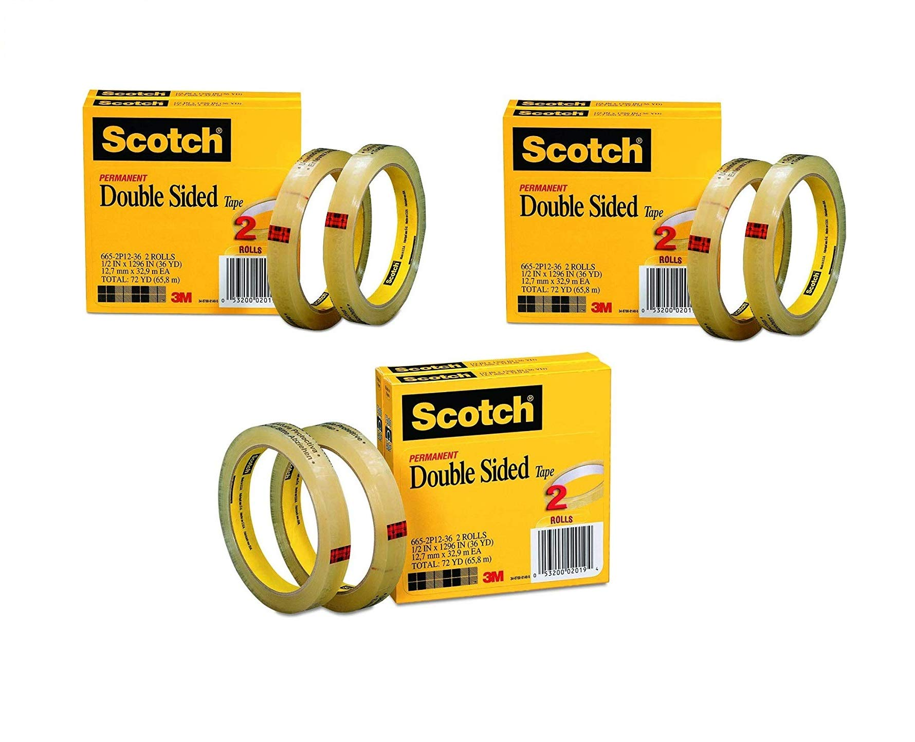 Scotch Double Sided Tape, Narrow Width, Engineered for Office and Home Use, 1/2 x 1296 Inches, 3 Inch Core, Sold as 3 Pack, 6 Rolls Total (665-2P12-36) by Scotch Brand