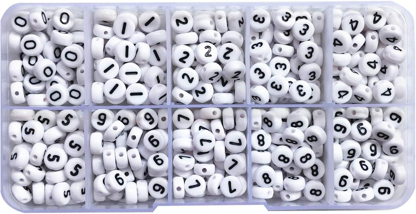 Amaney 500pcs Black Acrylic Number Beads 7x4mm Mixed Number Letter Beads Acrylic Plastic Round Shape Loose Beads