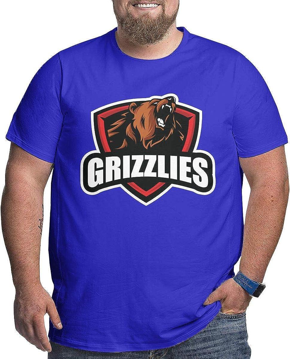 LONGTENG Design Grizzlies Big Size T-Shirt O-Neck 100/% Pre-Shrunk Cotton for Mens Black