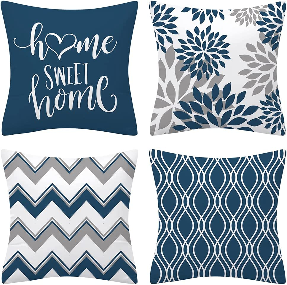 Drmstow Light Blue Pillow Covers 18x18 Set of 4 Modern Decorative Geometric Outdoor Sofa Throw Pillow Case Cushion Covers for Couch Living Room Bed Patio Furniture Indoors Home Decor…