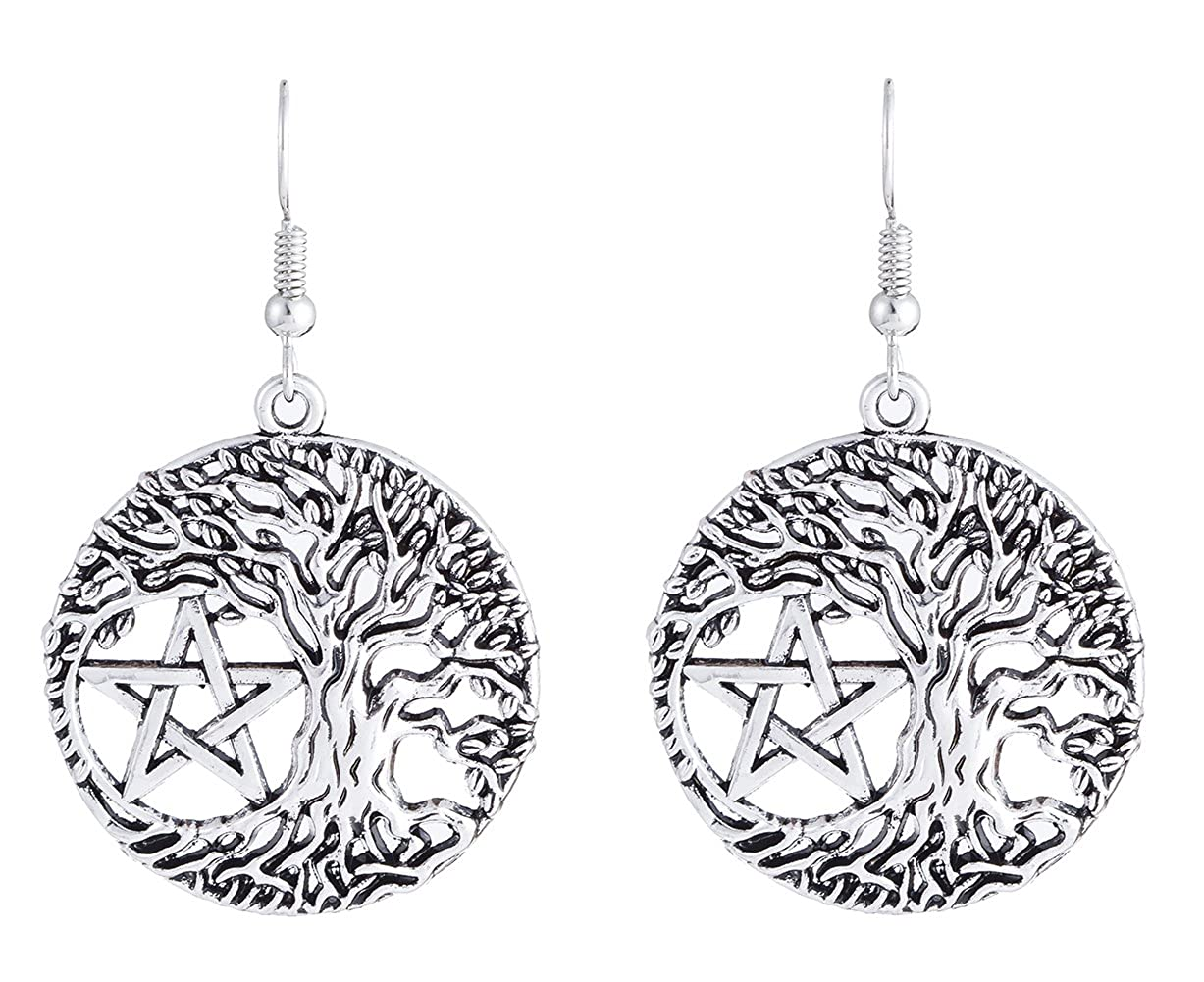 Lemegeton Punk Vintage Yggdrasil Tree of Life Pentacle Talisman Charm Drop Earrings Wiccan Pagan Jewelry for Women BiChuang