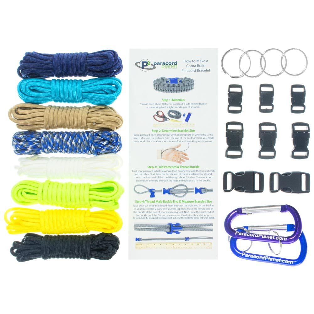 PARACORD PLANET Paracord Survival Bracelet & Project Kit – 550 Parachute Cord, Buckles, Carabiners, Key Rings – (Starter & Hardware Kits Include Paracord Needle & Forceps) – Made in USA