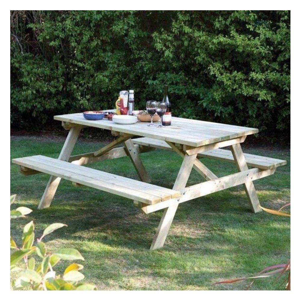 Wooden picnic table handmade garden bench outdoor patio - Handmade wooden garden benches ...
