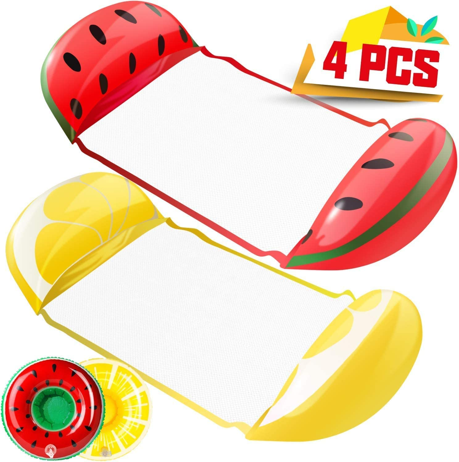 2 Packs Watermelon /& Lemon Inflatable Rafts with Inflatable Drink Holders Compact Floating Devices Gift for Adults /& Children Fruit Swimming Hammock Pool Float