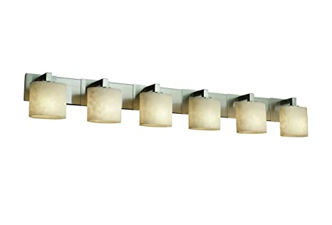Beau Justice Design Group Clouds 6 Light Bath Bar   Brushed Nickel Finish With  Clouds Resin