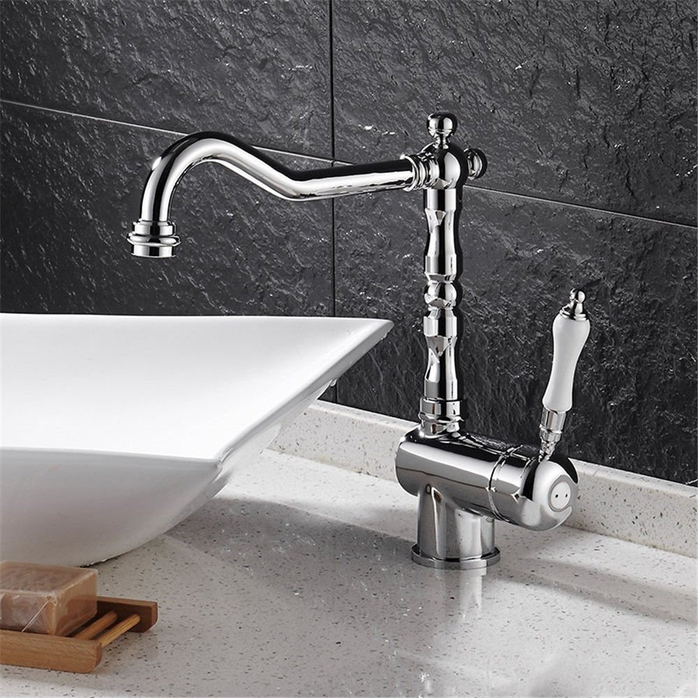 SHLONG Tap Copper Kitchen Bathroom Universal Faucet redating gold-Plated Hot and Cold Water Long Heightening Basin Faucet
