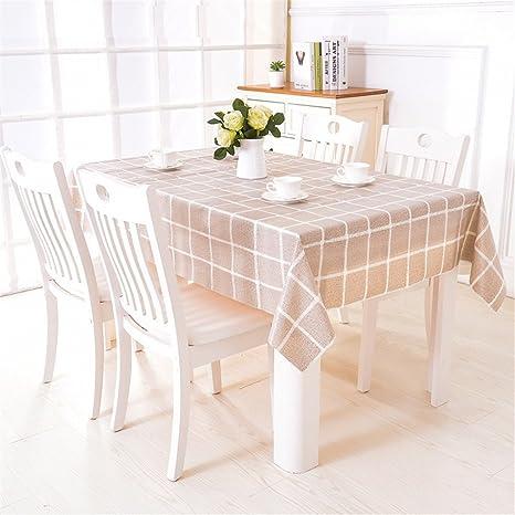 Crazywind Tischdecke Wasserdicht Und ölbeständig Einweg Tischtuch Quadratische Couchtisch Kunststoff Tischdecke Braunes Gitter 120x120cm Küche Haushalt