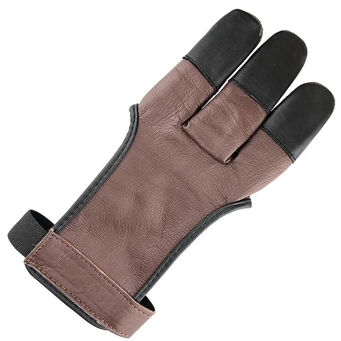 1 opinioni per Longbowmaker, guanto di protezione per tiro con l'arco, con tre dita, in pelle