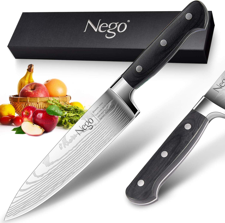 Cuchillo chef - Cuchillos chef Pro. Cuchillo cocina 8 pulgadas, acero inoxidable alto carbono, hoja afeitar, hoja afilada,resistente a las manchas, mejor opción para restaurantes y cocina en casa: Amazon.es: Hogar