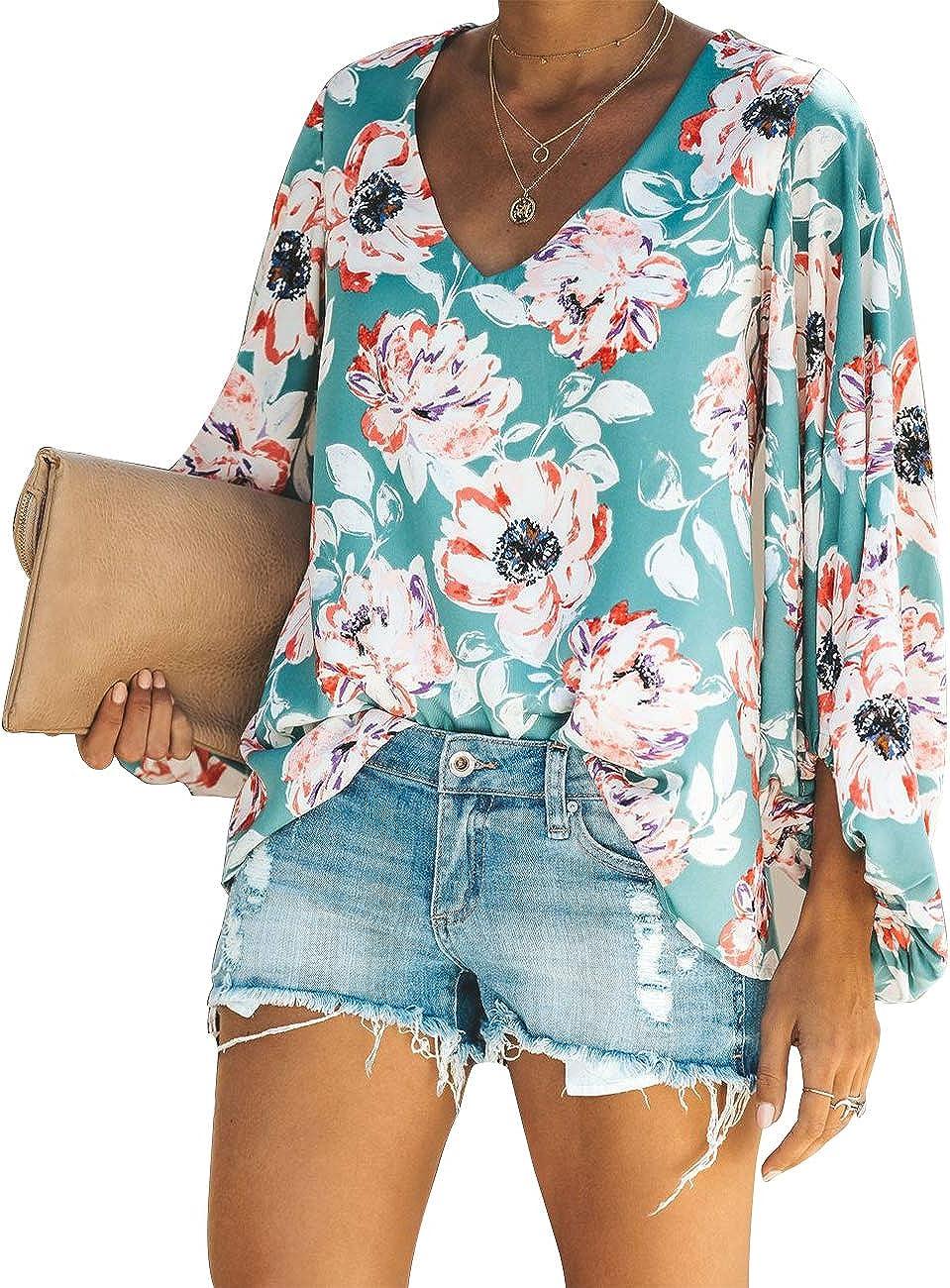 Rainlin Women Casual V Neck Pullover Tops Print Blouse Loose Lantern Long Sleeve Shirts