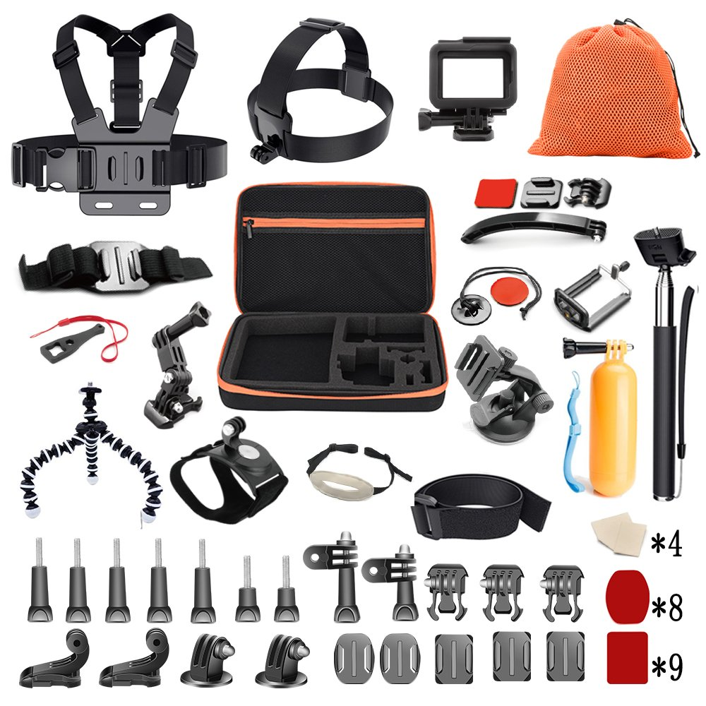 Pieviev 60-in-1 GoPro Accessories Kit for Gopro Hero5 Black 6 4 3+ 3 2 1, Action Camera 4K SJ4000 SJ5000 SJ6000 DBPOWER AKASO VicTsing APEMAN WiMiUS Rollei QUMOX Lightdow Campark and Sony (Black)