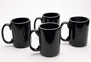 product image for American Mug Pottery Ceramic Coffee Mug, Made in USA (15 oz - Pack of 4, Black)