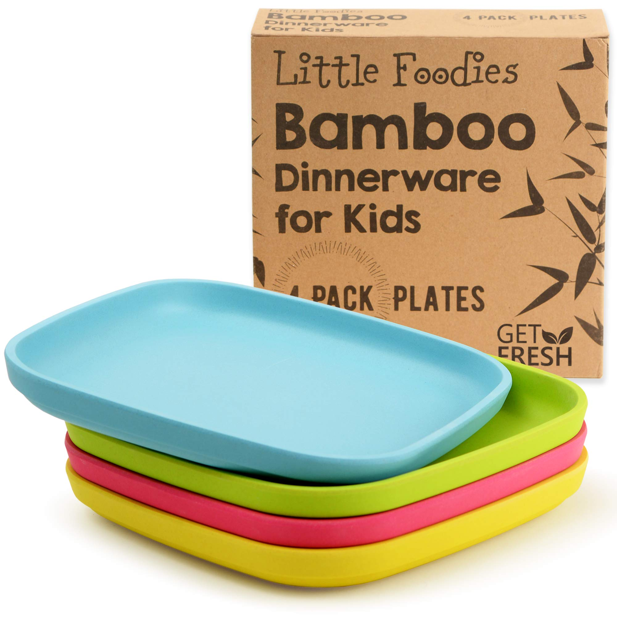 Bamboo Kids Plates, 4 Pack Set, Stackable Bamboo Dinnerware for Kids, Bamboo Fiber Kids Plates Set, Dinner Dish Set for Kids and Toddlers, BPA-free, Dishwasher Safe and Stackable by GET FRESH