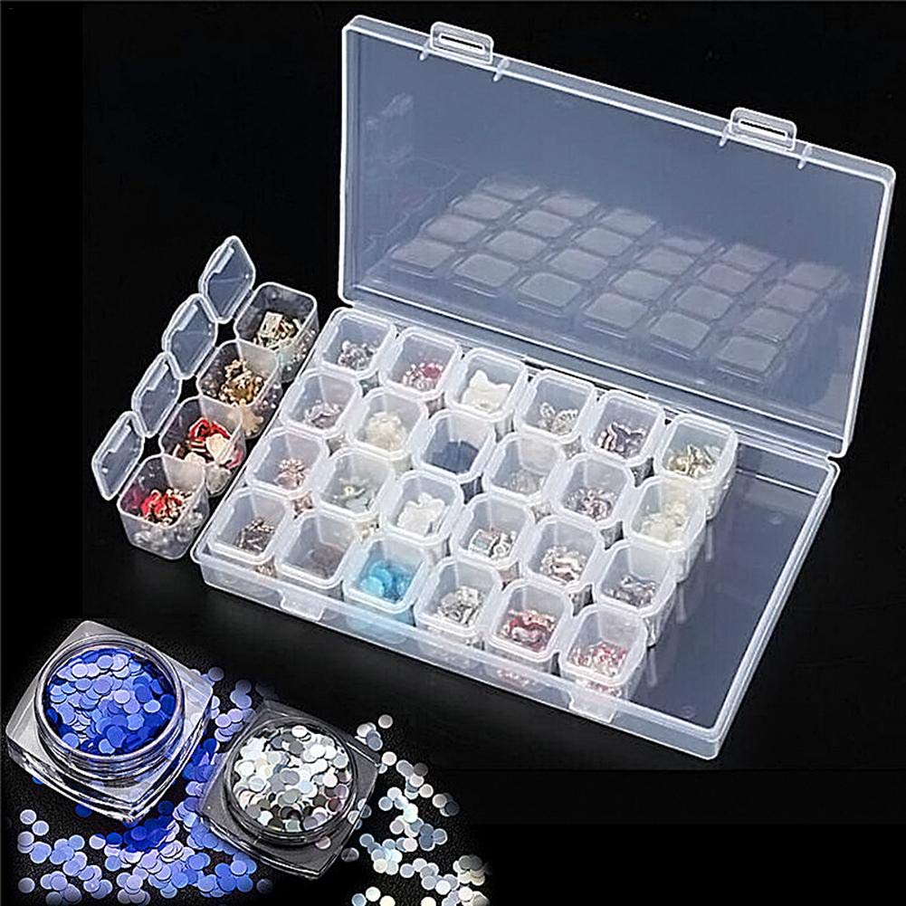 28 Slot Adjustable Clear Plastic Nail Art Decoration Tools Container 无