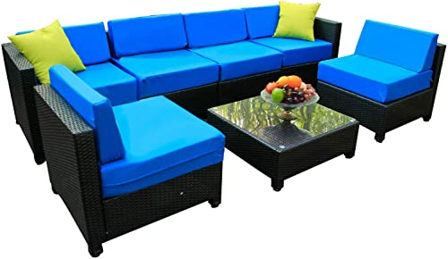 Mcombo 7Pieces Aluminum Patio Wicker Furniture Sectional Sofa Set Outdoor All-Weather PE Rattan Loveseat Lawn Conversation Blue Cushioned