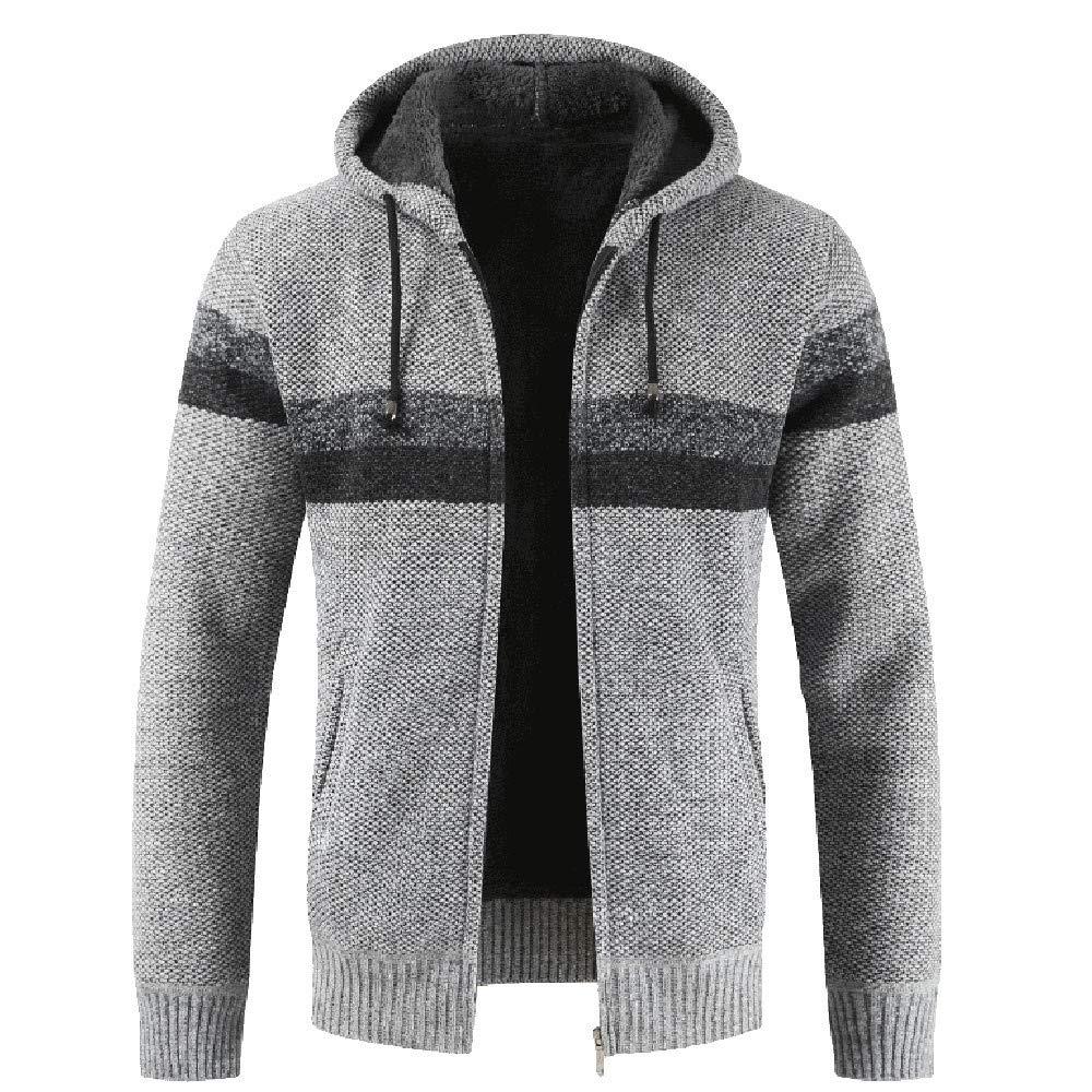 Btruely Strickjacke Herren Groß Größe Winter Herbst Outwear Patchwork Freizeitpullover Stehkragen Sweatshirt Männer Jacke Mode Mantel