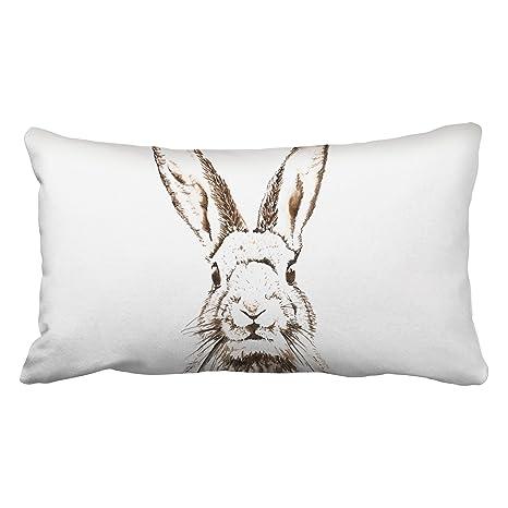 accrocn fundas de almohada vintage Conejo lápiz pintura ...
