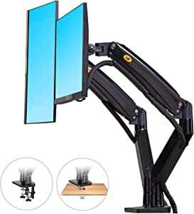 NB North Bayou Dual Monitor Desk Mount Stand Full Motion Swivel Computer Monitor Arm Fits 2 Screens up to 32'' with Load Capacity 6.6~26.4lbs for Each Monitor F195A-B