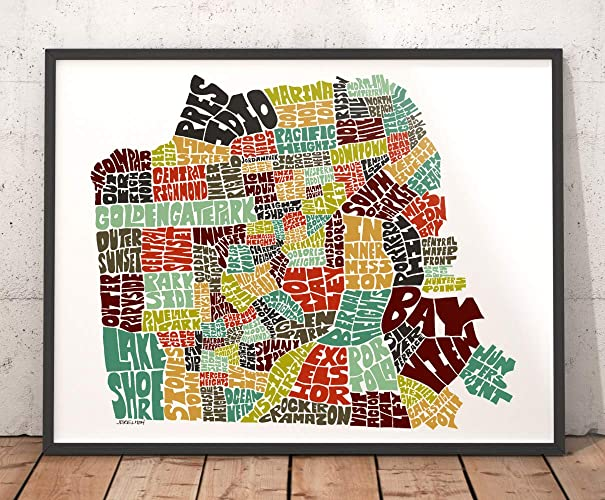graphic regarding San Francisco Maps Printable named : SAN FRANCISCO Map Artwork Print, Typography Map Artwork