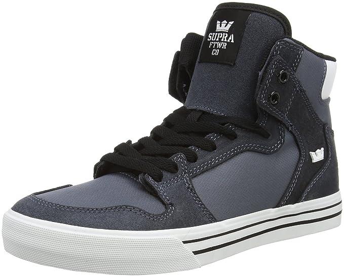 efcf0ade40c7 Amazon.com  Supra Vaider Charcoal White-White Skateboarding Shoe Hi-Top  Skate Sneaker  Clothing