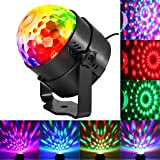 KINGSO LED luce rotante automatica Stage 5W RGB sprachak tiviertes Crystal Magic Ball luce del palcoscenico per DJ Show Disco Ball kreissaal KTV Rod Stadium Club Party [Classe di efficienza energetica A] Party [Clase de eficiencia energética A]