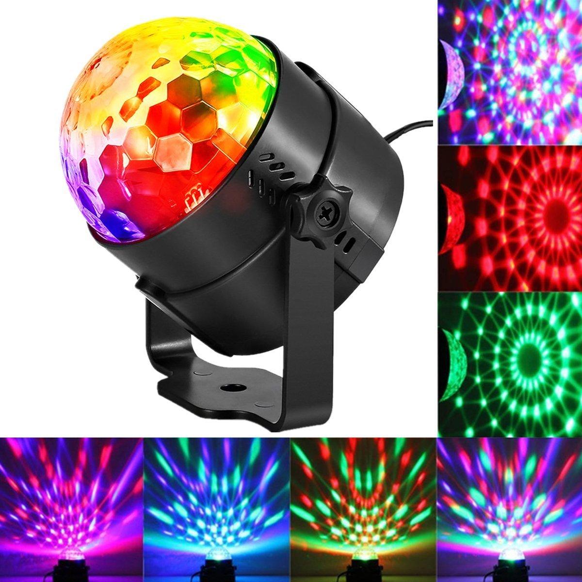 KINGSO 5W 100-240V Luz de la Etapa Etapa de Iluminació n Noche Mini Proyector RGB/GVB LED Etapa Luz para KTV, Bar, Disco DJ, Atmó sfera Bombilla de Luz de Cristal con Control de Sonido Negro