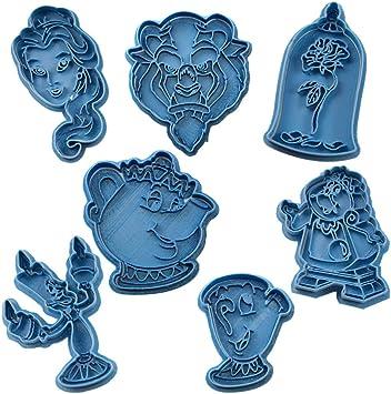 Cuticuter La Bella y la Bestia Pack cortador de galletas, azul. 8x7x1,5cm: Amazon.es: Hogar