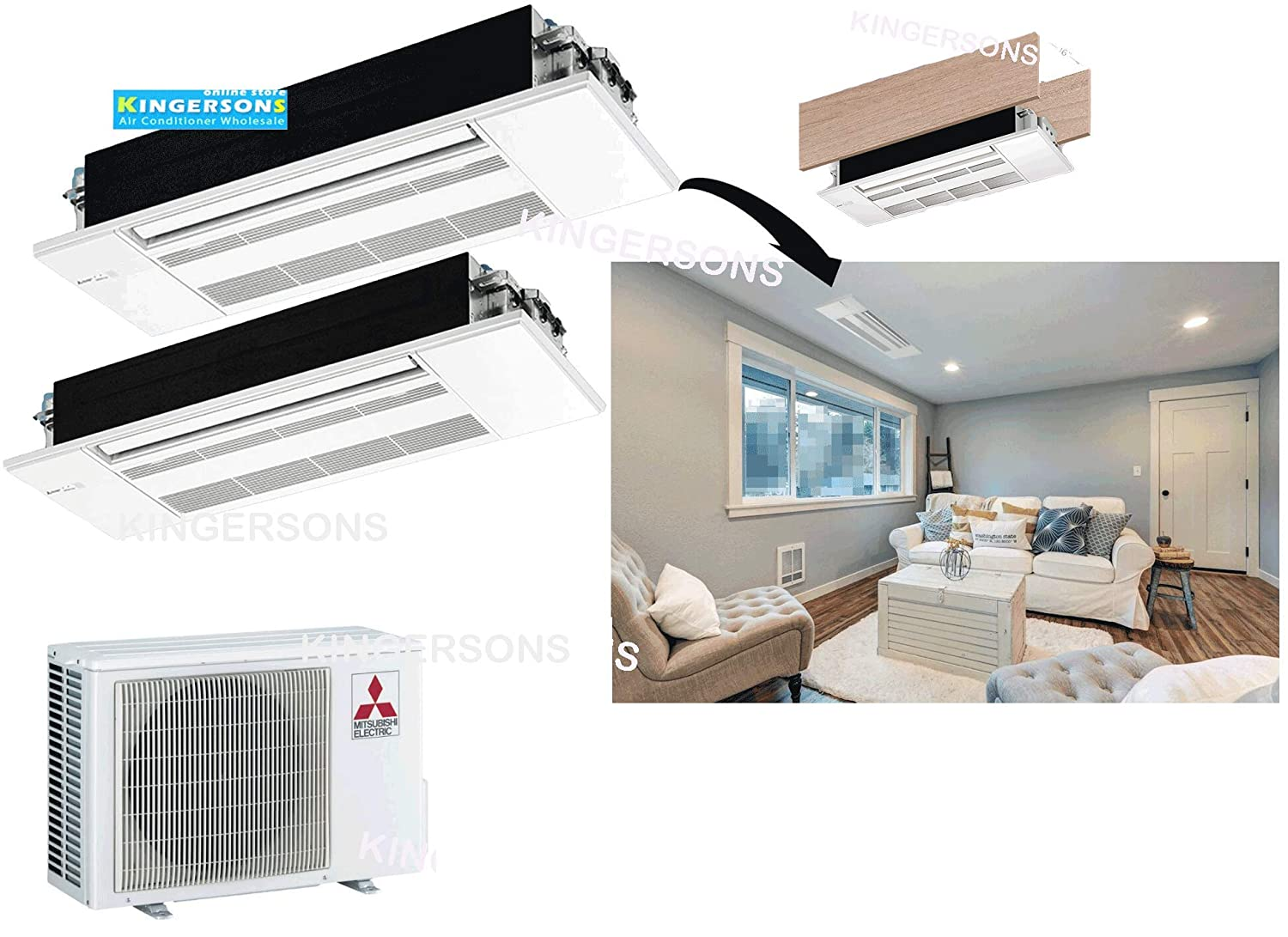 SEER 20 AC /& Heat Pump Ductless Ceiling Recessed Cool /& Heat Energy Star Mitsubishi 27,000 BTU 1.5 TON 18,000 BTU /& 9,000 BTU One Way Ceiling Cassette Dual Zone System