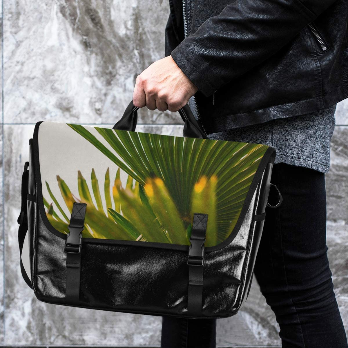 Laptop Computer Traveling Camping Casual Canvas Satchel Green Leaves Nature Messenger Bag Shoulder Bag Happy for Men Women Student