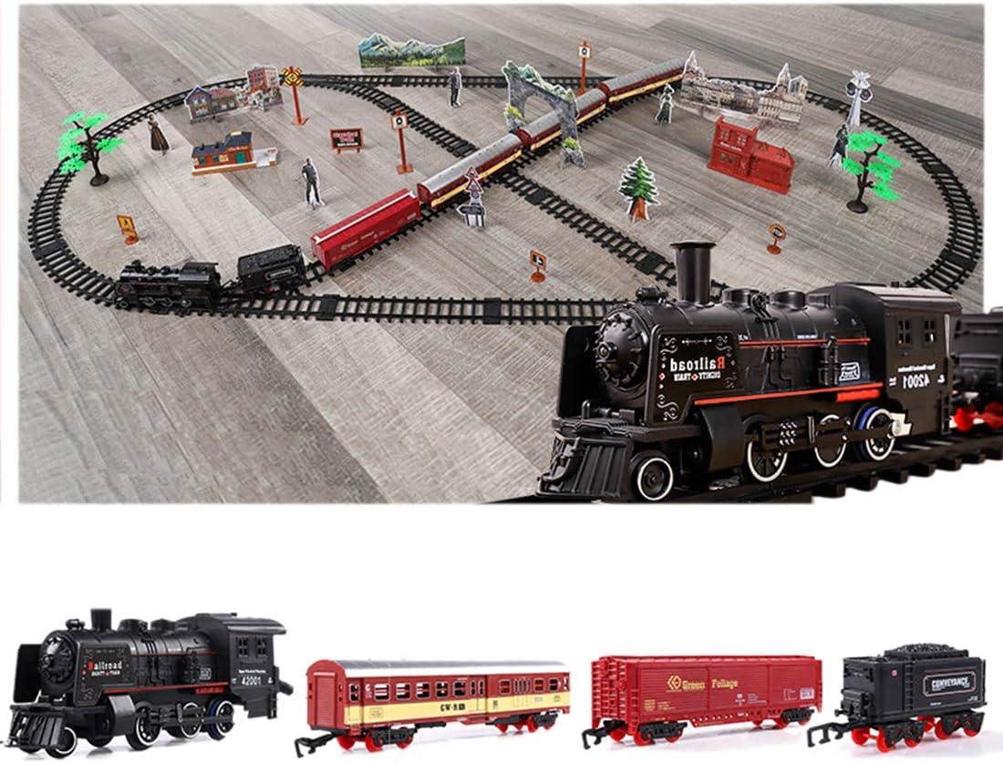 Polai Trenes Electricos Juguete, Tren Eléctrico para Niños, Locomotora de Vapor, Juego de Trenes de Juguete con Luces y Humo