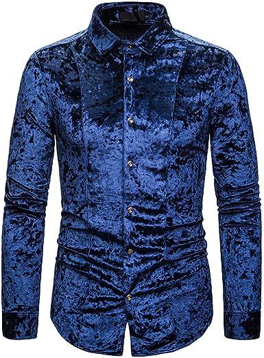 CAOQAO Camisa Hombre Personalidad de la Moda Hombres Casual Terciopelo Senior Terciopelo Diamante Camiseta Top Blusa: Amazon.es: Ropa y accesorios