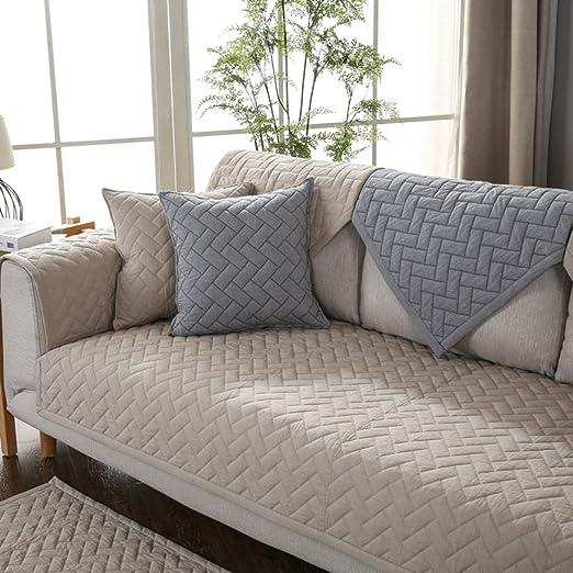 Color sólido Sofá fundas,Funda de felpa sofá multi-size ...