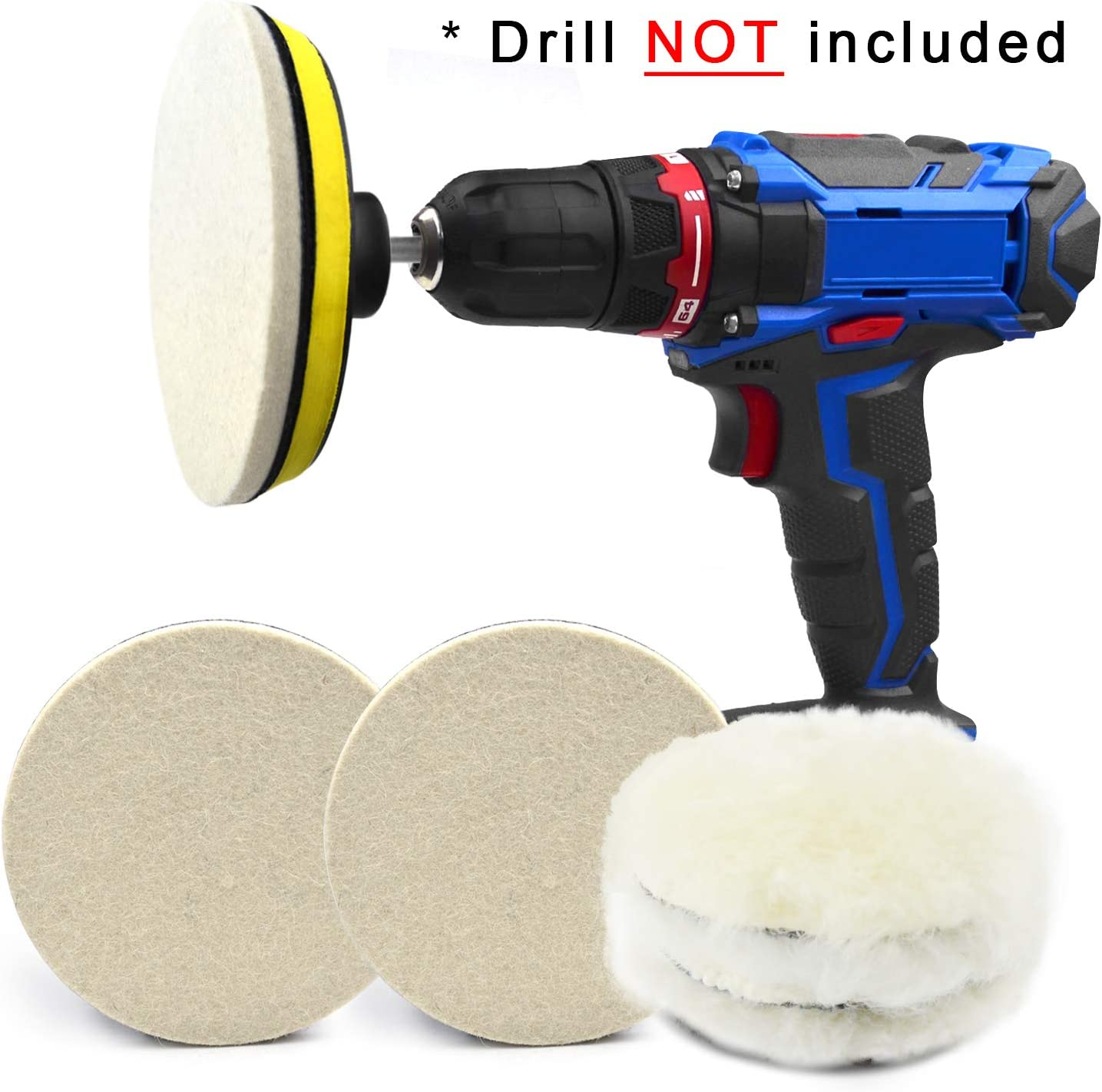 5pcs 5/'/' Wool Wheel Buffing Polishing Pads Car Polisher Drill Wool Wheel Mop Kit
